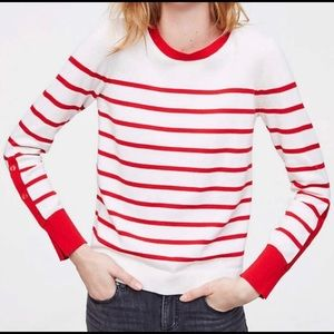 Striped white and red long sleeve sweater